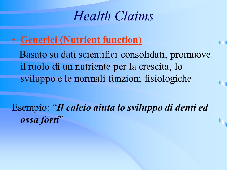 Health Claims Generici (Nutrient function)