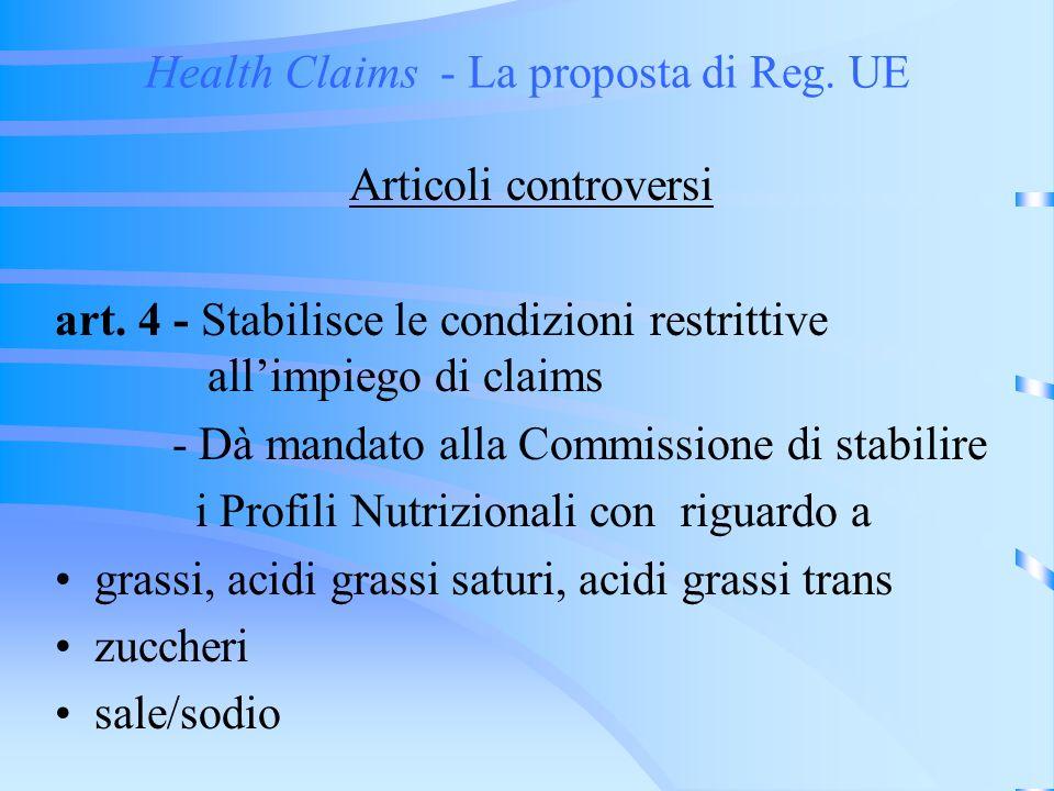 Health Claims - La proposta di Reg. UE