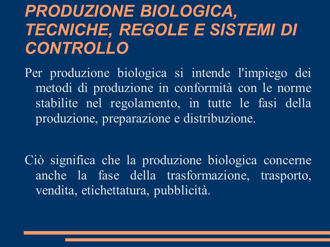 PRODUZIONE BIOLOGICA, TECNICHE, REGOLE E SISTEMI DI CONTROLLO