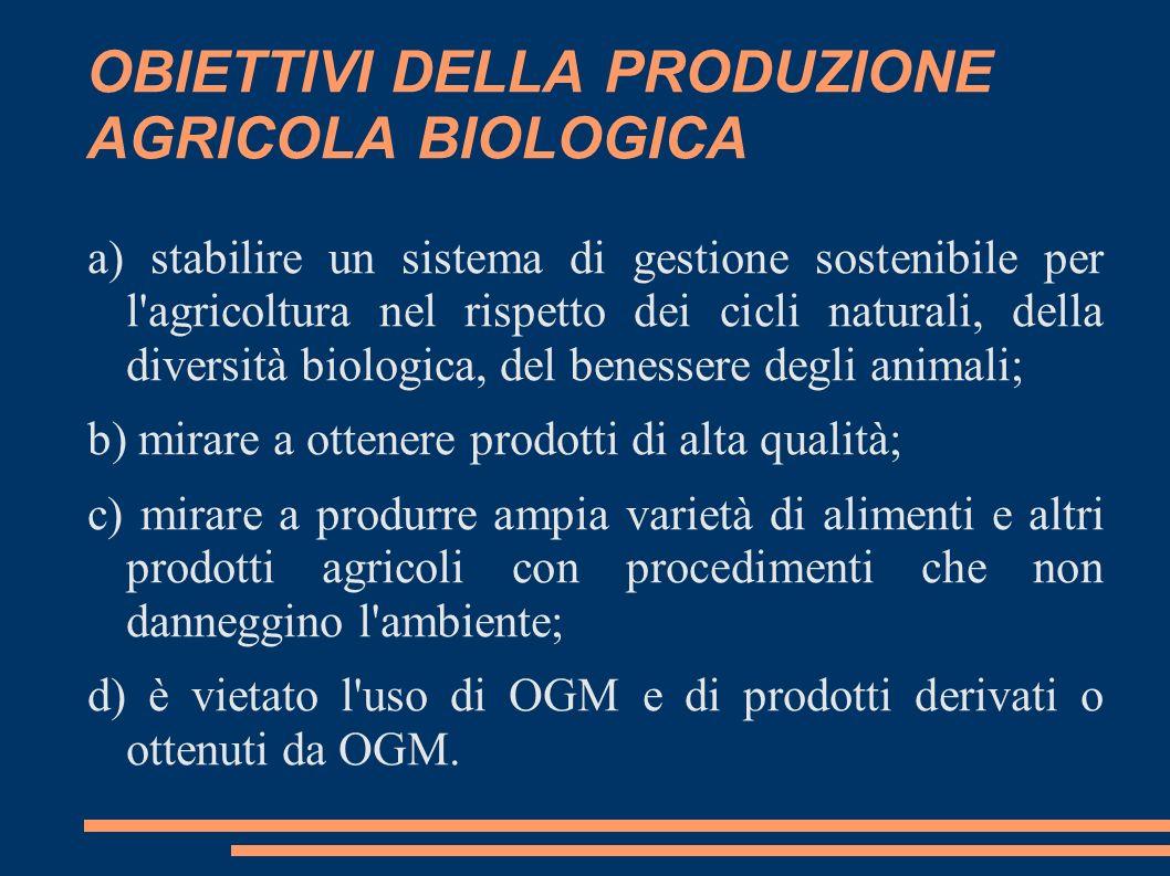 OBIETTIVI DELLA PRODUZIONE AGRICOLA BIOLOGICA