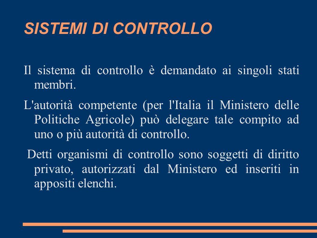 SISTEMI DI CONTROLLO Il sistema di controllo è demandato ai singoli stati membri.