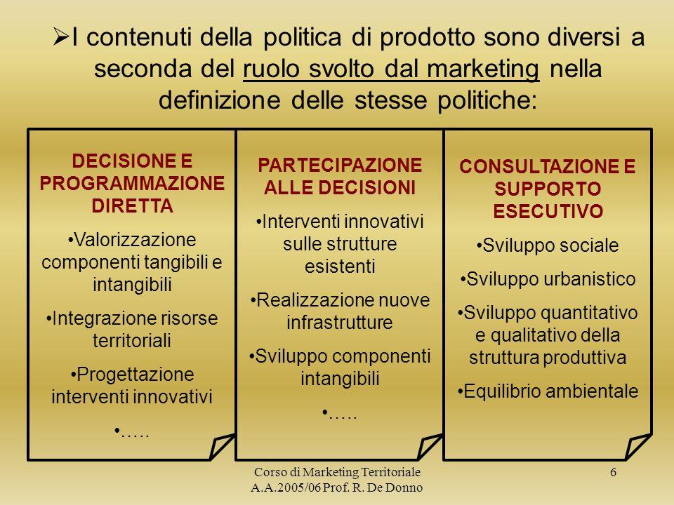 I contenuti della politica di prodotto sono diversi a seconda del ruolo svolto dal marketing nella definizione delle stesse politiche:
