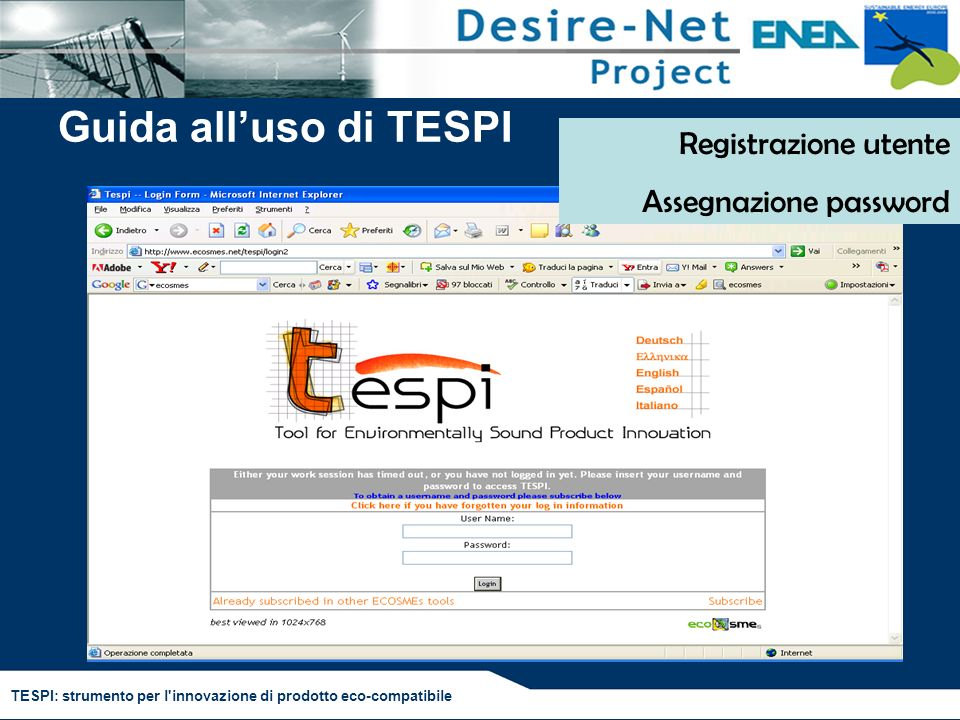 Guida all'uso di TESPI Registrazione utente Assegnazione password