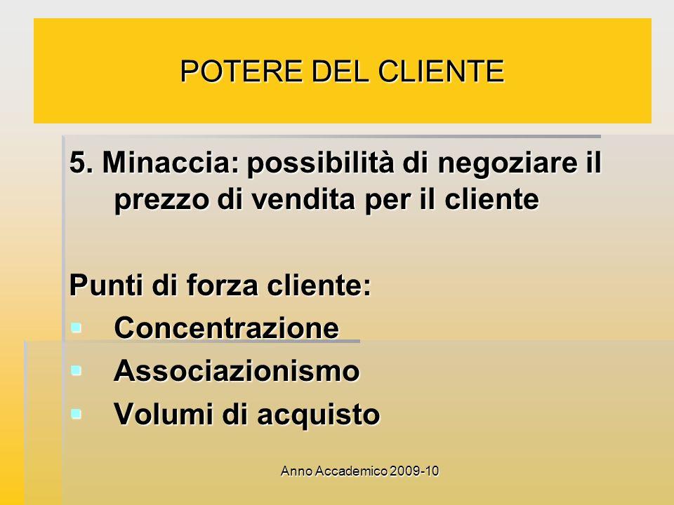 Punti di forza cliente: Concentrazione Associazionismo