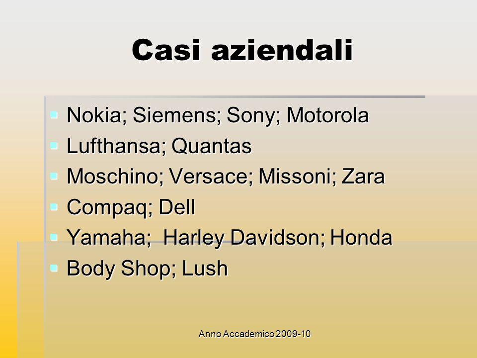 Casi aziendali Nokia; Siemens; Sony; Motorola Lufthansa; Quantas