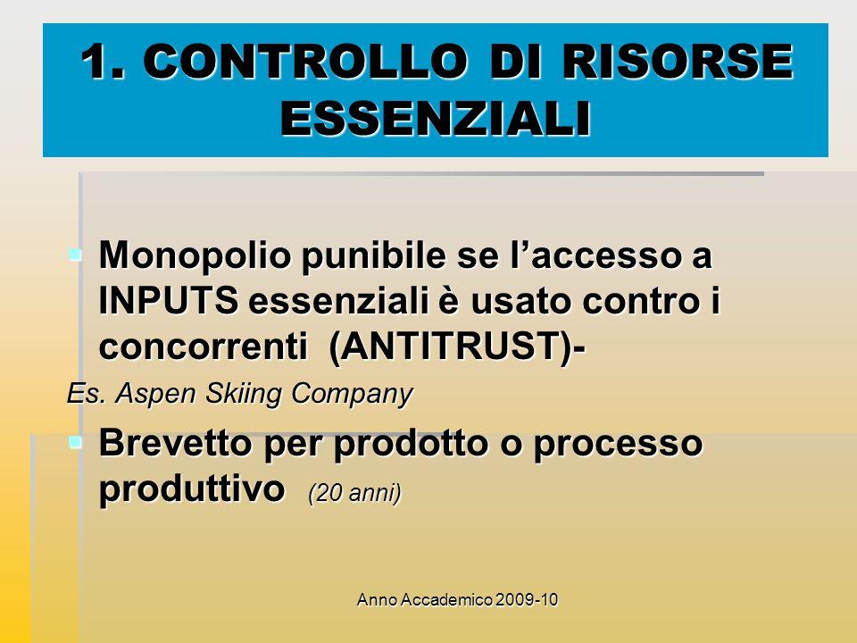 1. CONTROLLO DI RISORSE ESSENZIALI