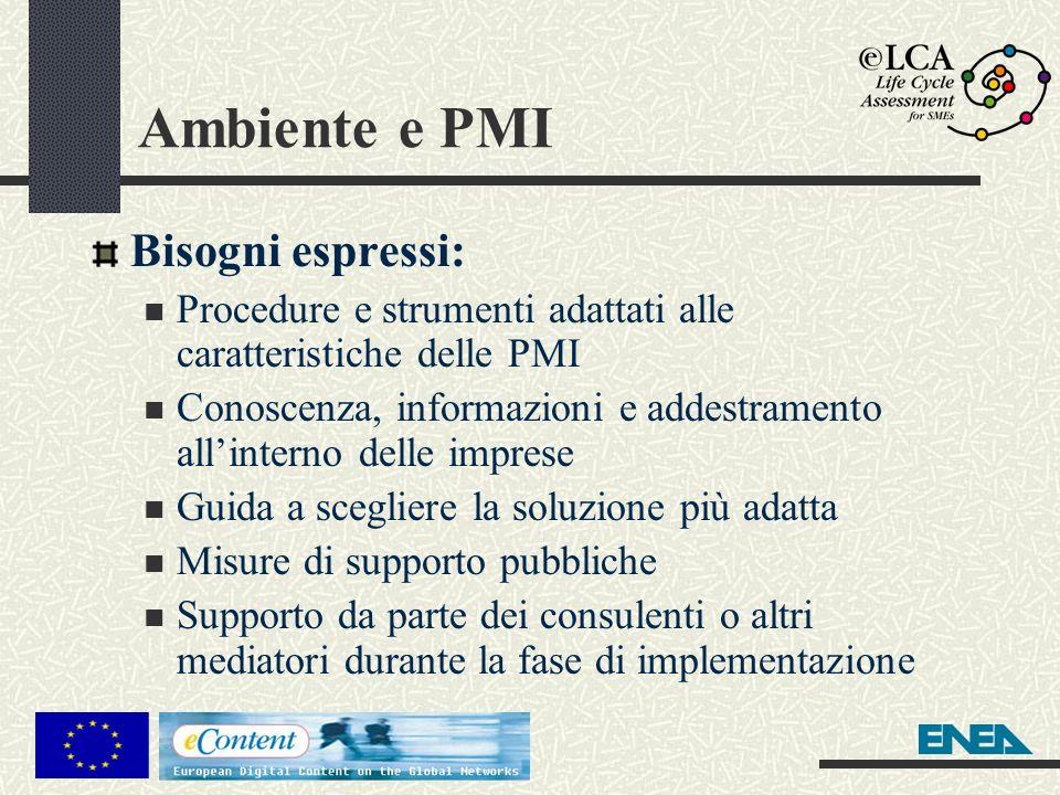 Ambiente e PMI Bisogni espressi: