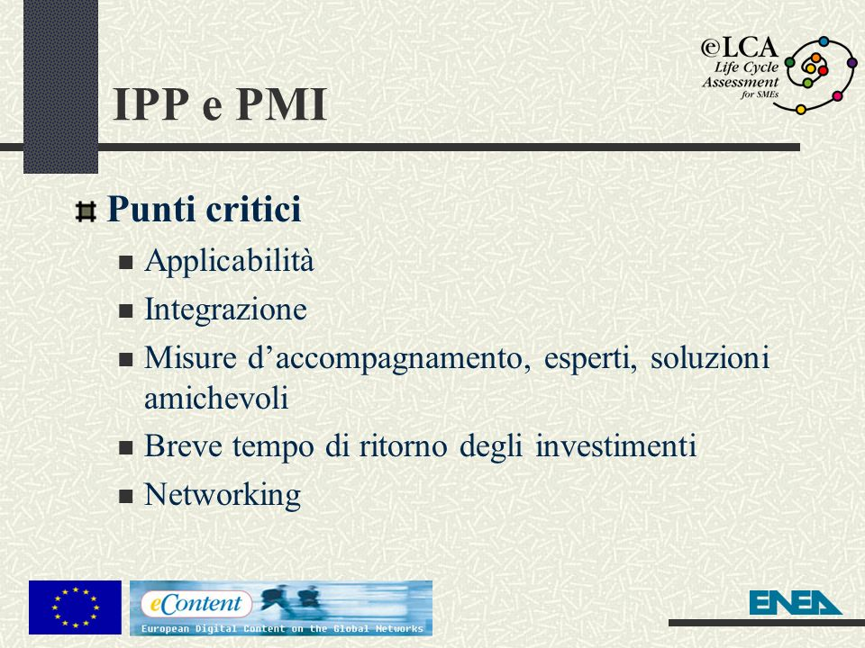 IPP e PMI Punti critici Applicabilità Integrazione