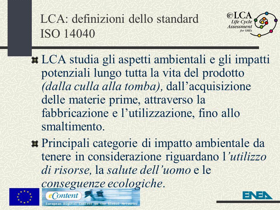 LCA: definizioni dello standard ISO 14040
