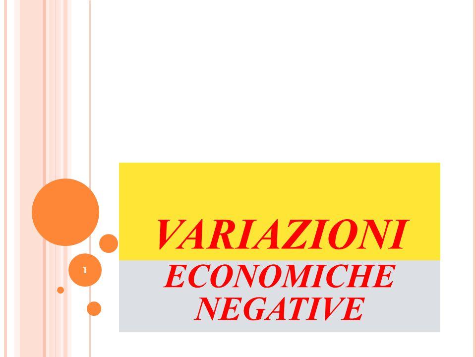 VARIAZIONI ECONOMICHE NEGATIVE