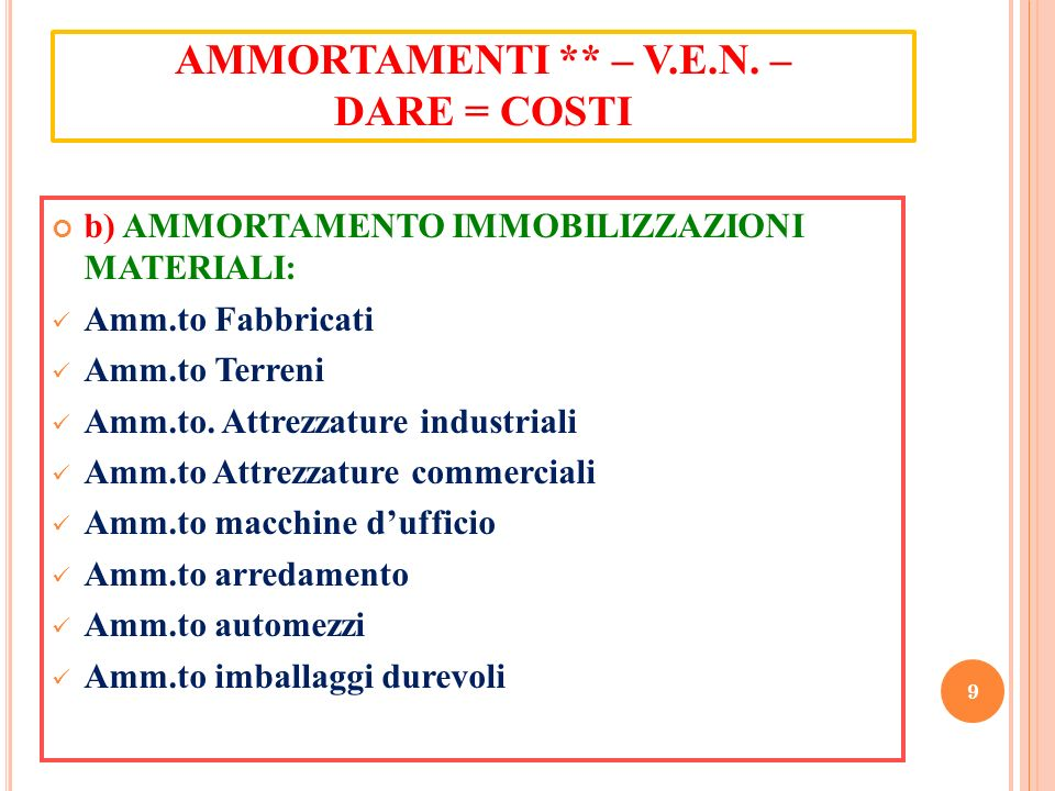 AMMORTAMENTI ** – V.E.N. – DARE = COSTI