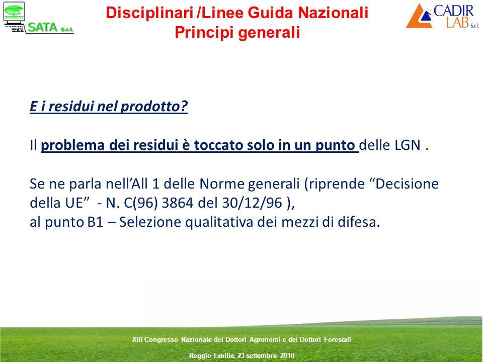 Disciplinari /Linee Guida Nazionali