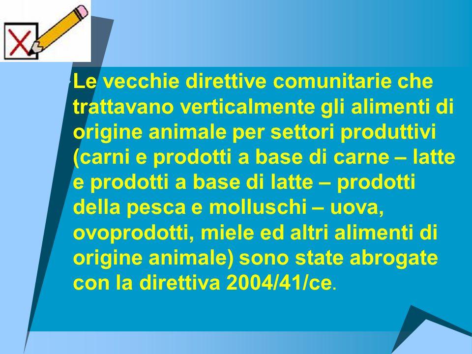 Le vecchie direttive comunitarie che trattavano verticalmente gli alimenti di origine animale per settori produttivi (carni e prodotti a base di carne – latte e prodotti a base di latte – prodotti della pesca e molluschi – uova, ovoprodotti, miele ed altri alimenti di origine animale) sono state abrogate con la direttiva 2004/41/ce.