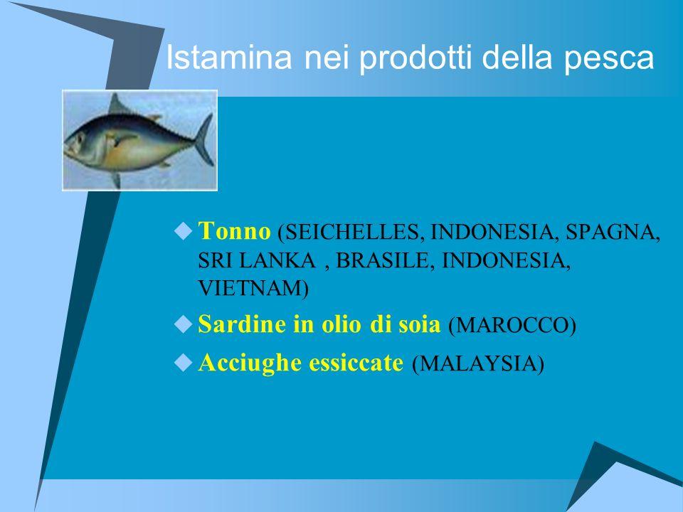 Istamina nei prodotti della pesca