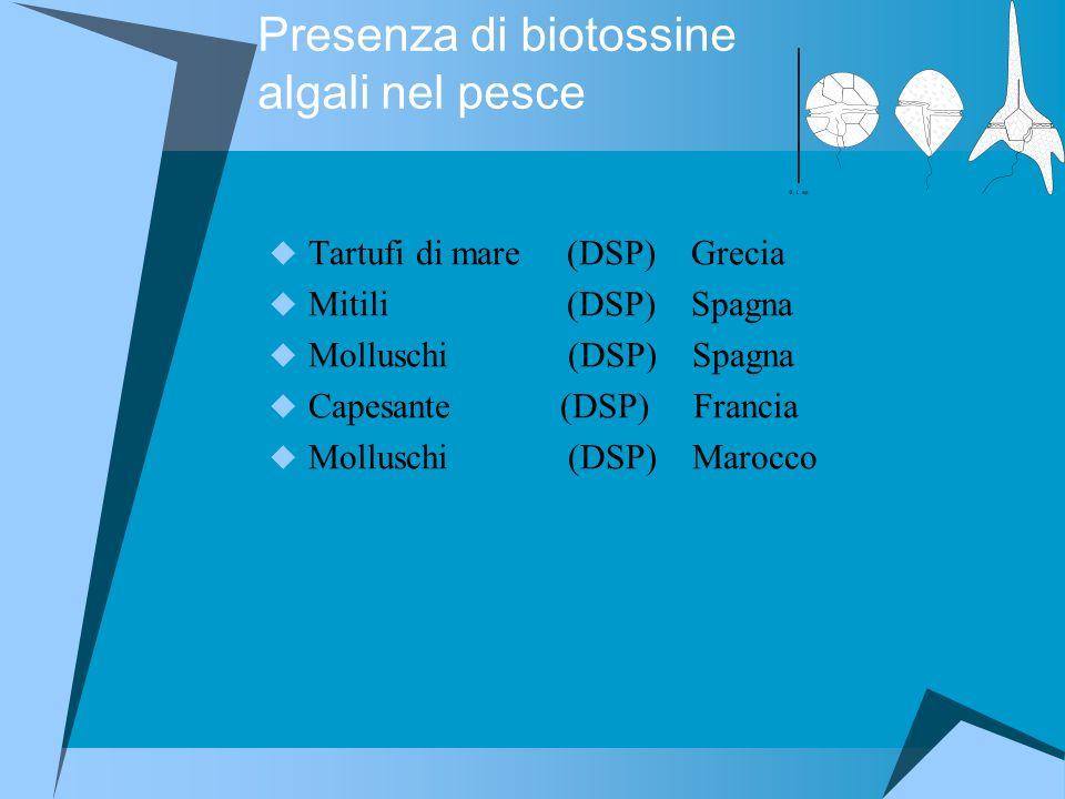 Presenza di biotossine algali nel pesce
