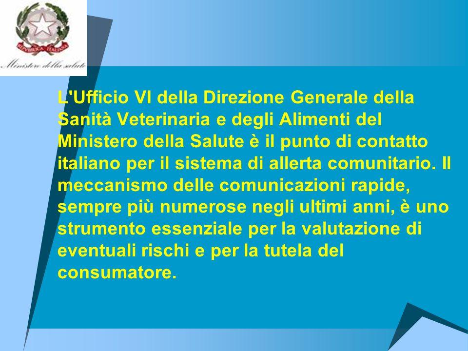 L Ufficio VI della Direzione Generale della Sanità Veterinaria e degli Alimenti del Ministero della Salute è il punto di contatto italiano per il sistema di allerta comunitario.