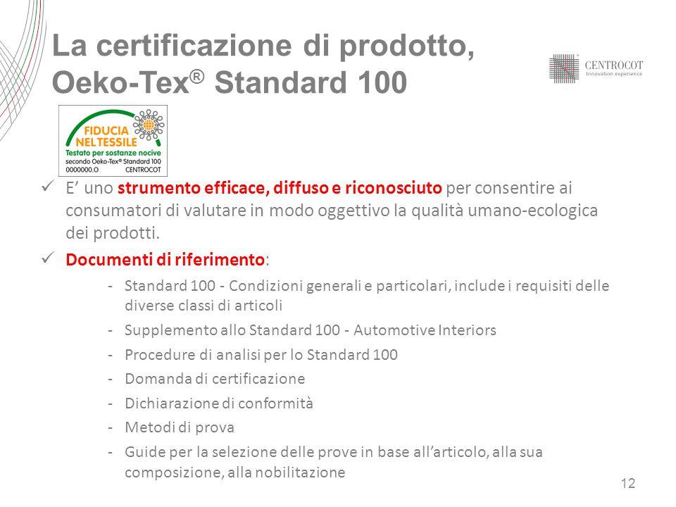 La certificazione di prodotto, Oeko-Tex® Standard 100