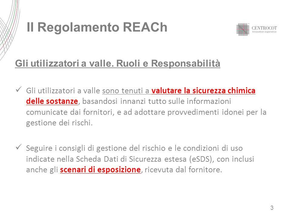 Il Regolamento REACh Gli utilizzatori a valle. Ruoli e Responsabilità