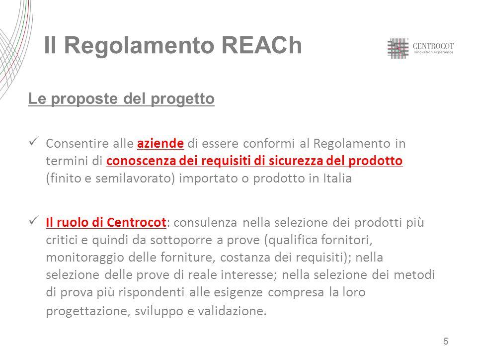 Il Regolamento REACh Le proposte del progetto