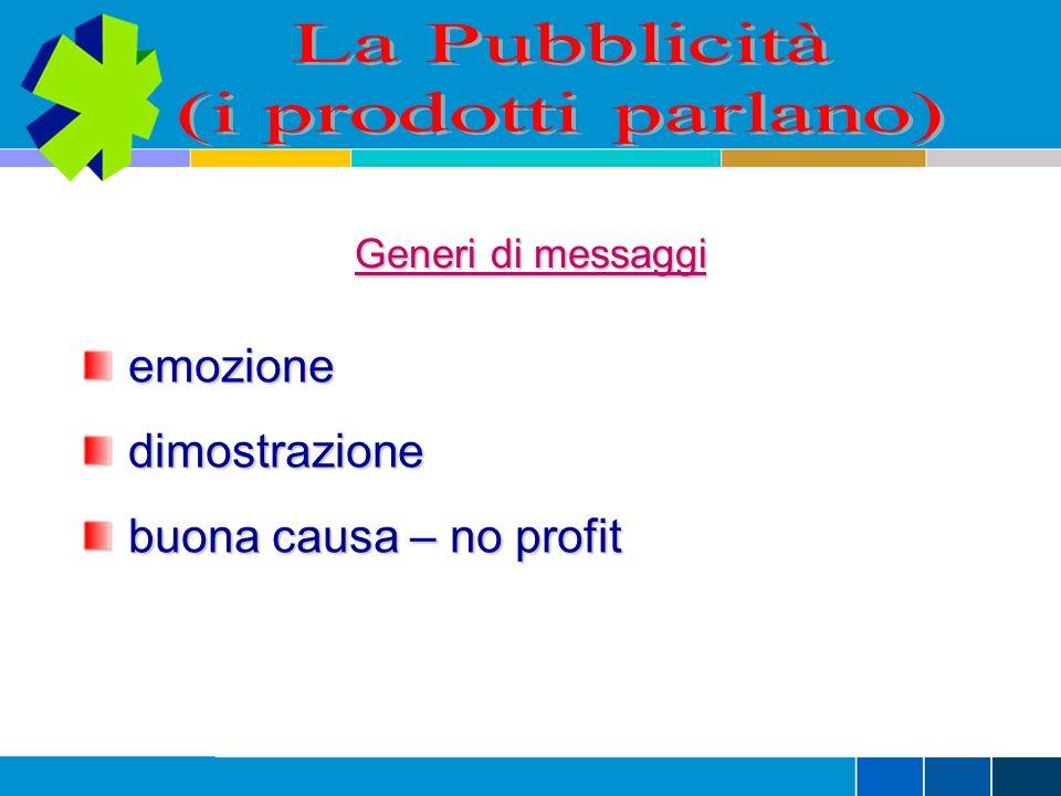 La Pubblicità (i prodotti parlano) emozione dimostrazione