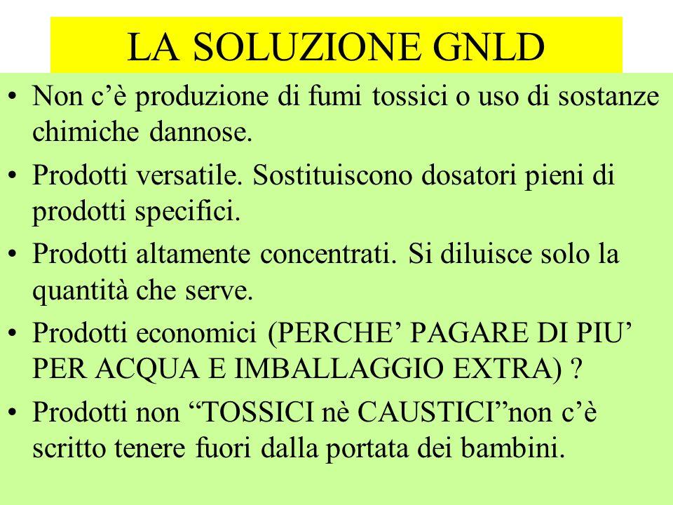 LA SOLUZIONE GNLD Non c'è produzione di fumi tossici o uso di sostanze chimiche dannose.