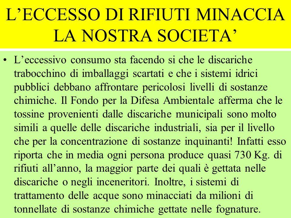 L'ECCESSO DI RIFIUTI MINACCIA LA NOSTRA SOCIETA'