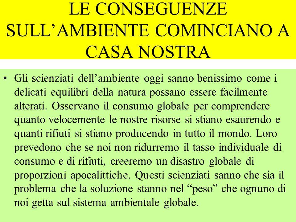 LE CONSEGUENZE SULL'AMBIENTE COMINCIANO A CASA NOSTRA