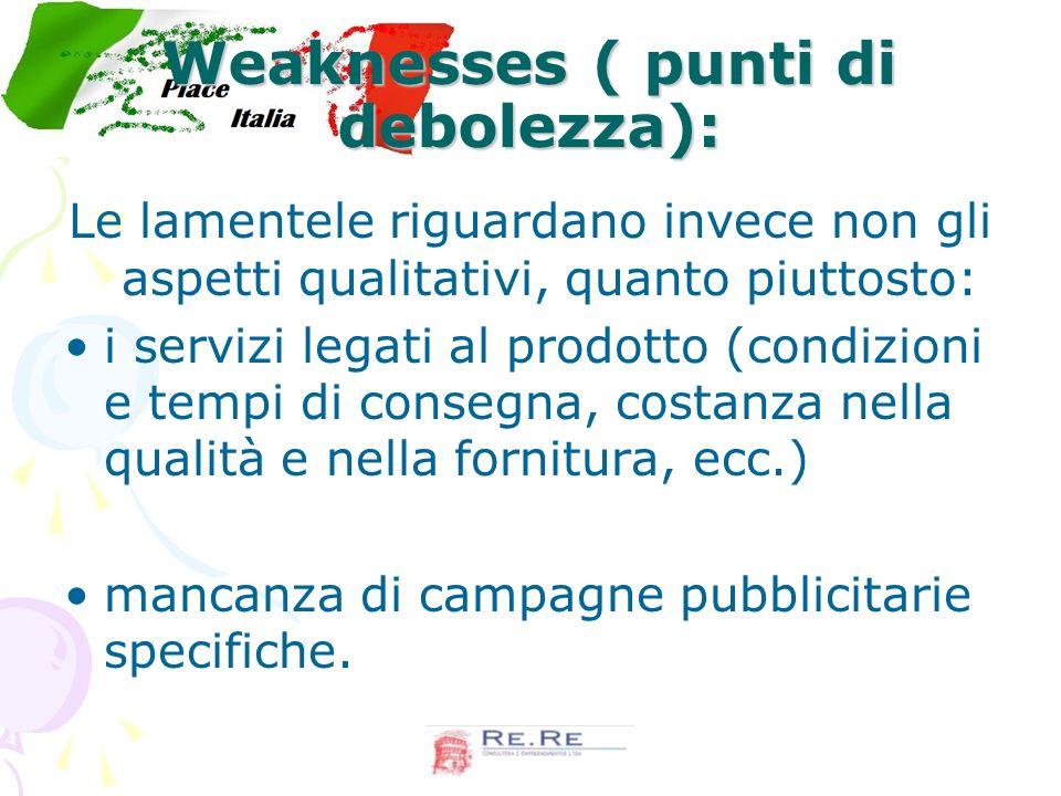 Weaknesses ( punti di debolezza):