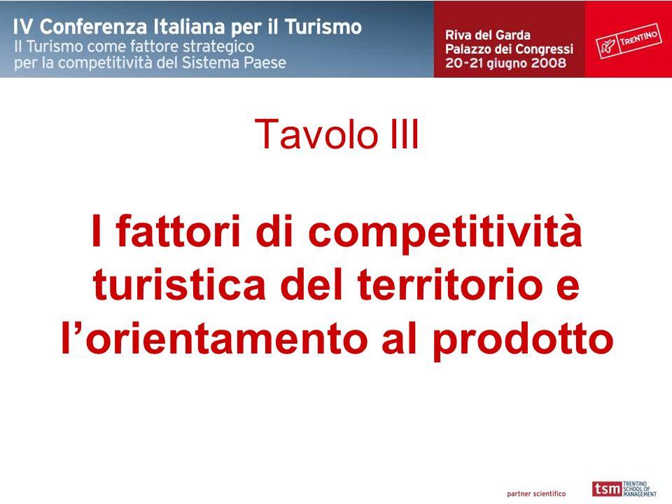 Tavolo III I fattori di competitività turistica del territorio e l'orientamento al prodotto