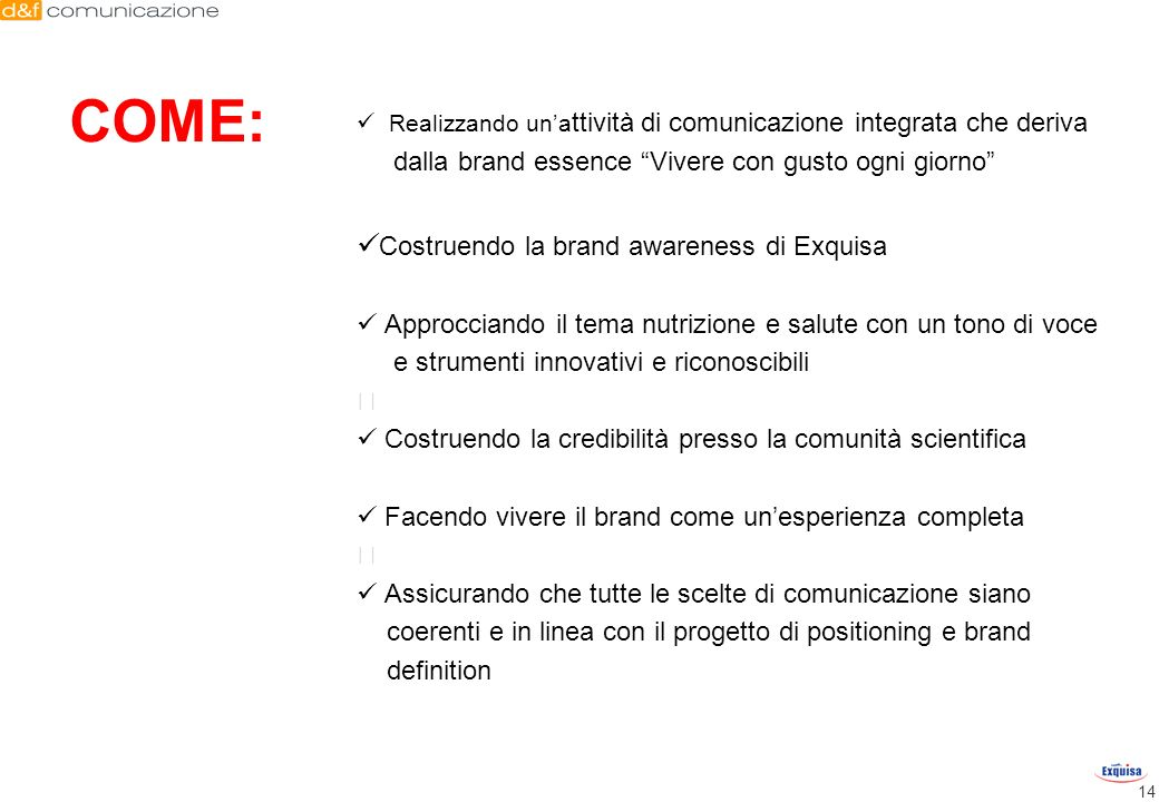 COME: Costruendo la brand awareness di Exquisa