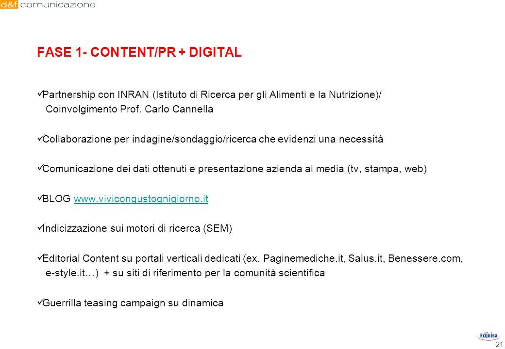 FASE 1- CONTENT/PR + DIGITAL