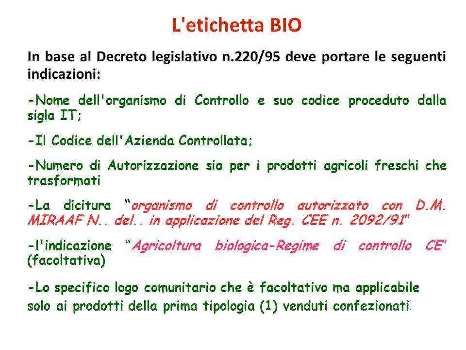 L etichetta BIO In base al Decreto legislativo n.220/95 deve portare le seguenti indicazioni:
