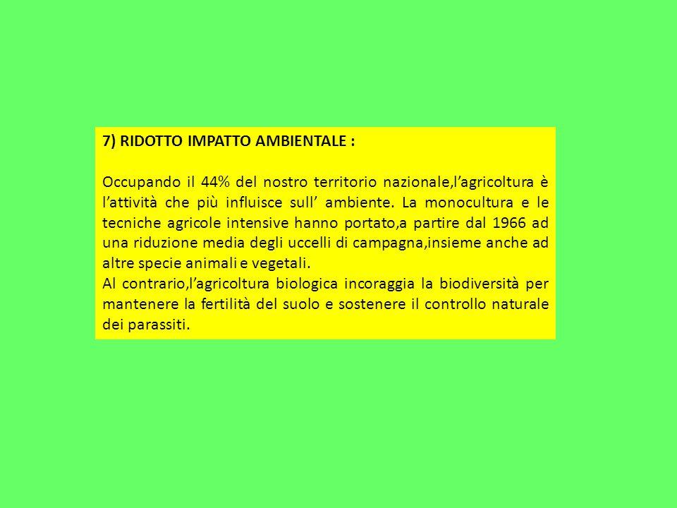 7) RIDOTTO IMPATTO AMBIENTALE :