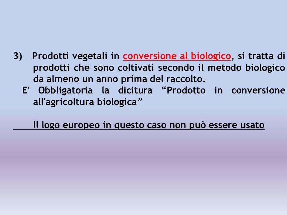 3) Prodotti vegetali in conversione al biologico, si tratta di prodotti che sono coltivati secondo il metodo biologico da almeno un anno prima del raccolto.