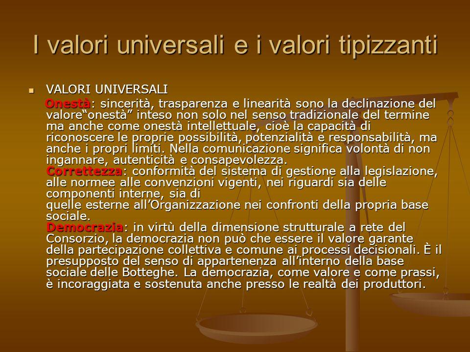 I valori universali e i valori tipizzanti