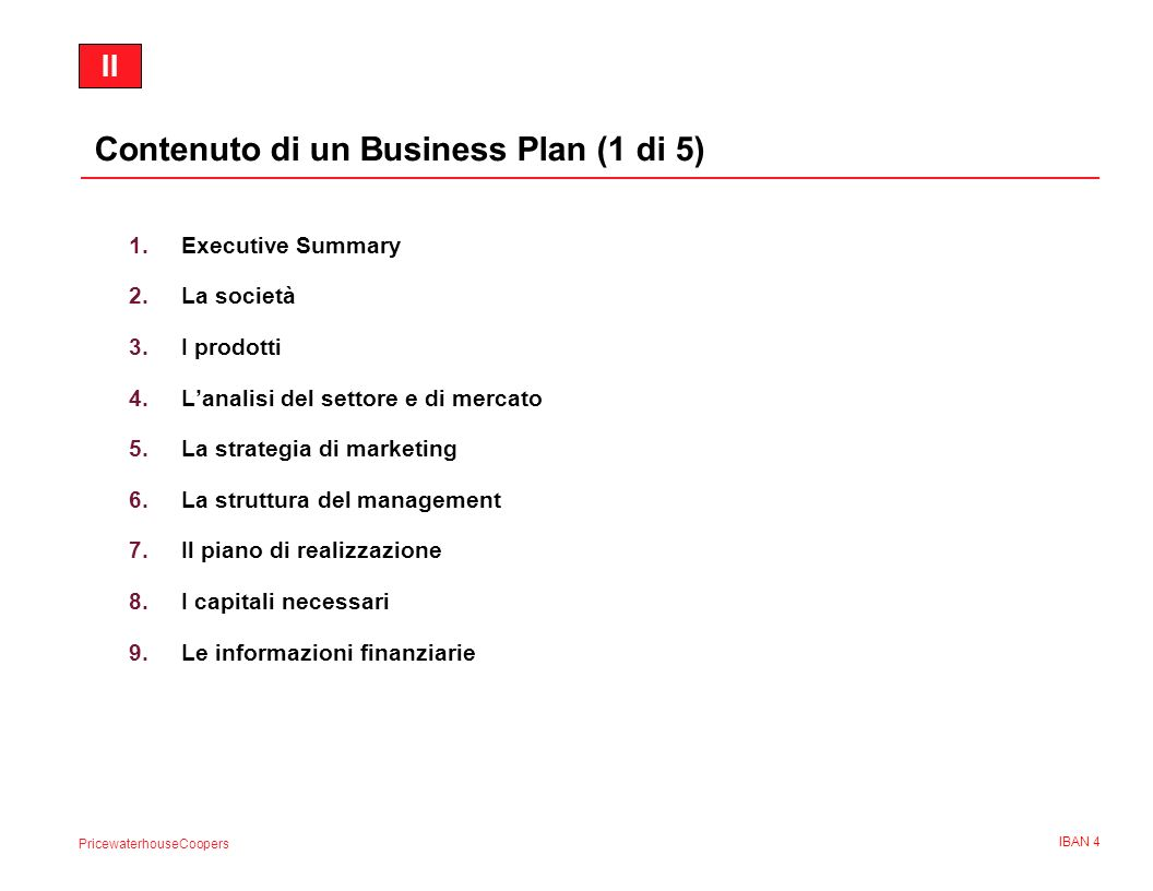 Contenuto di un Business Plan (1 di 5)