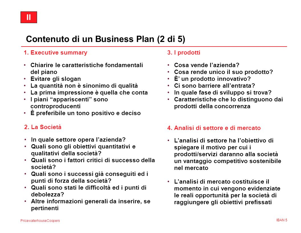 Contenuto di un Business Plan (2 di 5)