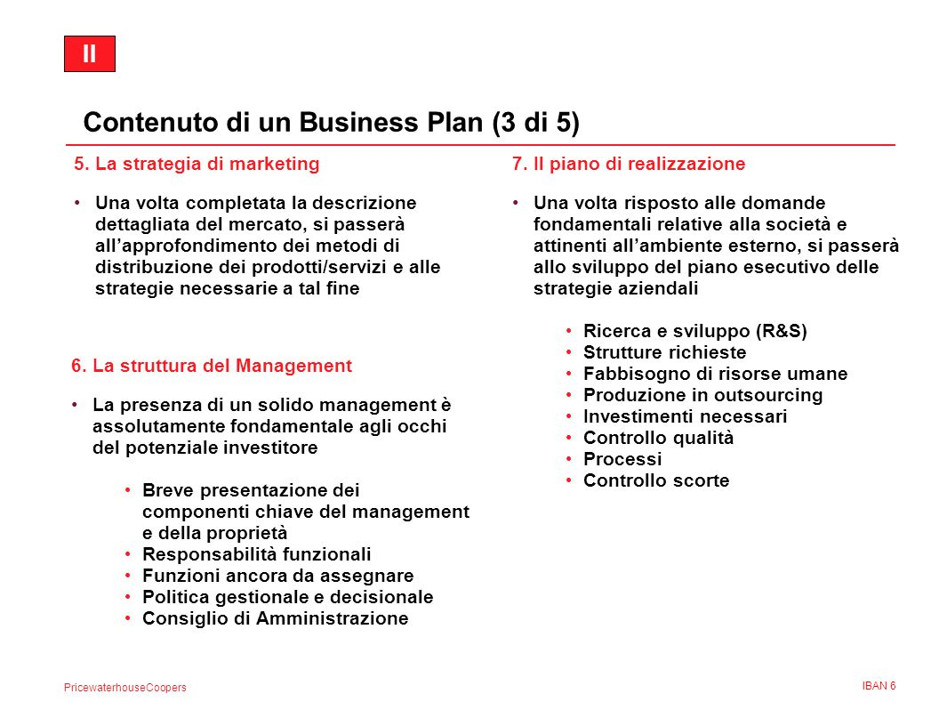 Contenuto di un Business Plan (3 di 5)