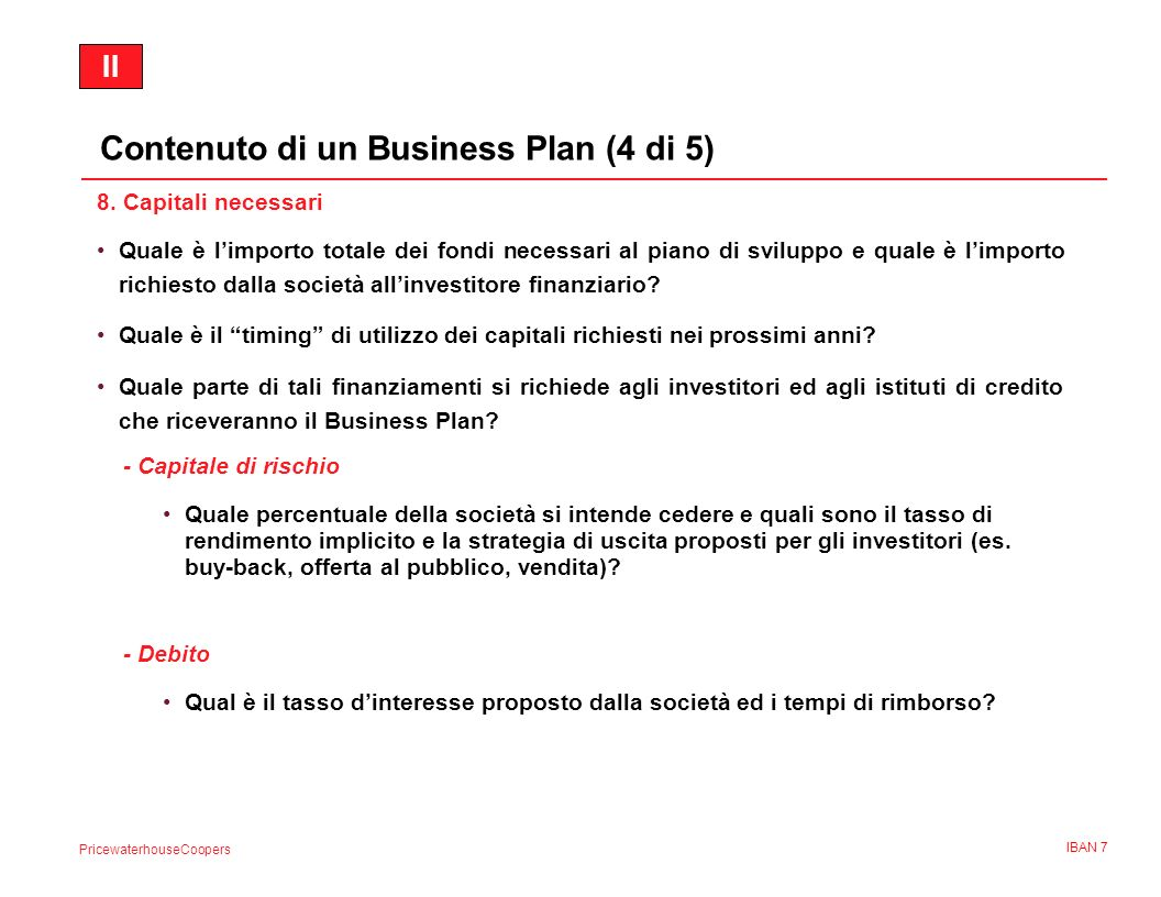 Contenuto di un Business Plan (4 di 5)