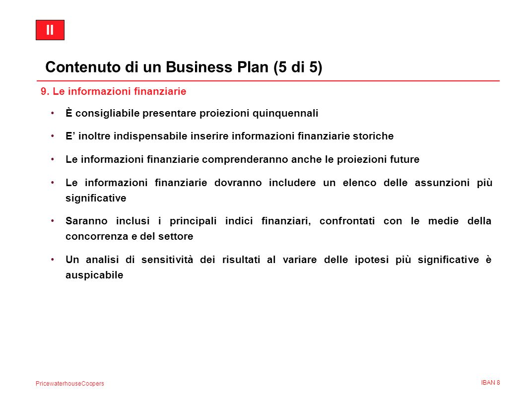 Contenuto di un Business Plan (5 di 5)