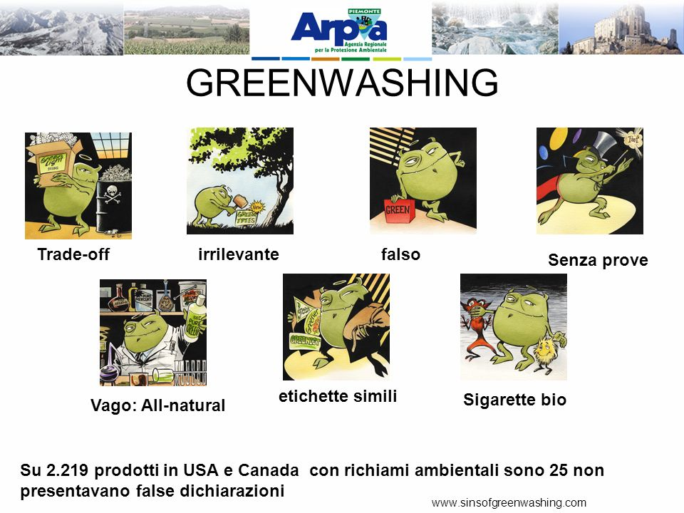 GREENWASHING Trade-off irrilevante falso Senza prove etichette simili