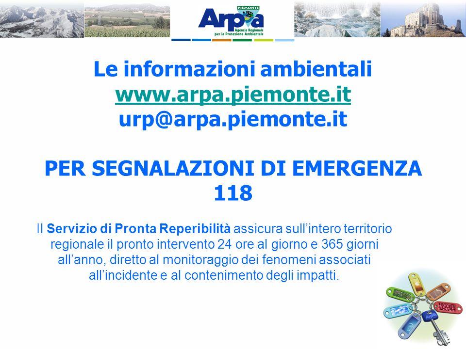 Le informazioni ambientali PER SEGNALAZIONI DI EMERGENZA