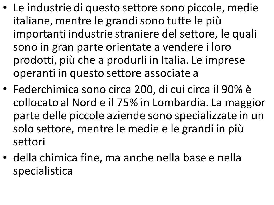 Le industrie di questo settore sono piccole, medie italiane, mentre le grandi sono tutte le più importanti industrie straniere del settore, le quali sono in gran parte orientate a vendere i loro prodotti, più che a produrli in Italia. Le imprese operanti in questo settore associate a