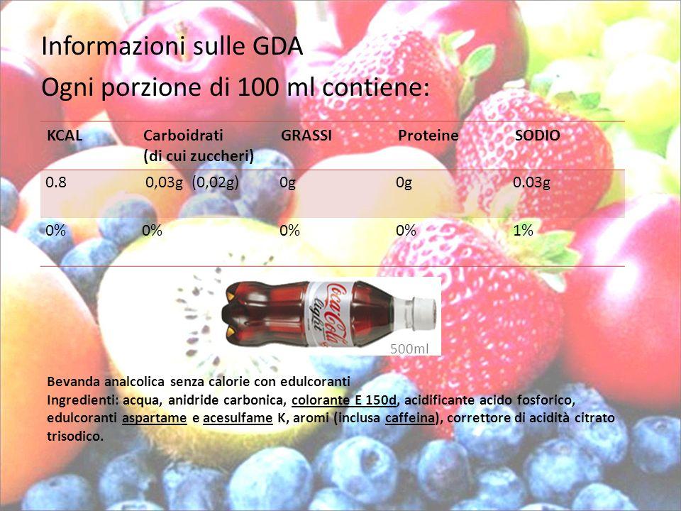 Informazioni sulle GDA Ogni porzione di 100 ml contiene: