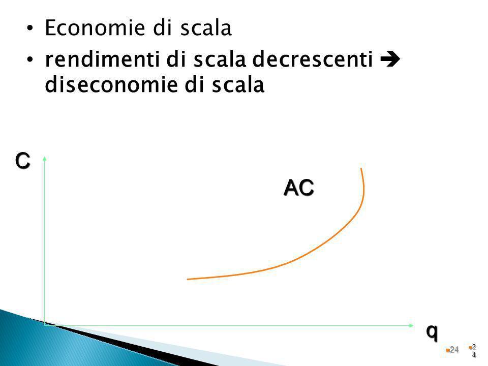 rendimenti di scala decrescenti  diseconomie di scala