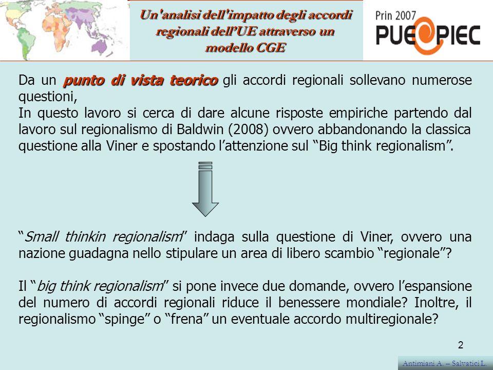 Un analisi dell impatto degli accordi regionali dell'UE attraverso un modello CGE