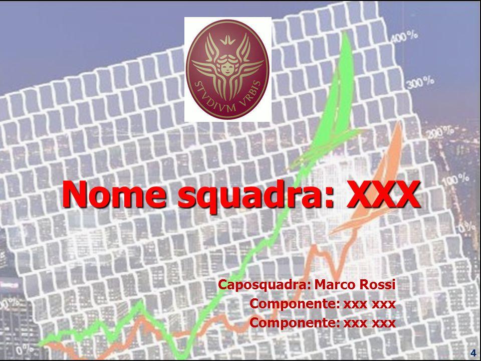 Caposquadra: Marco Rossi Componente: xxx xxx