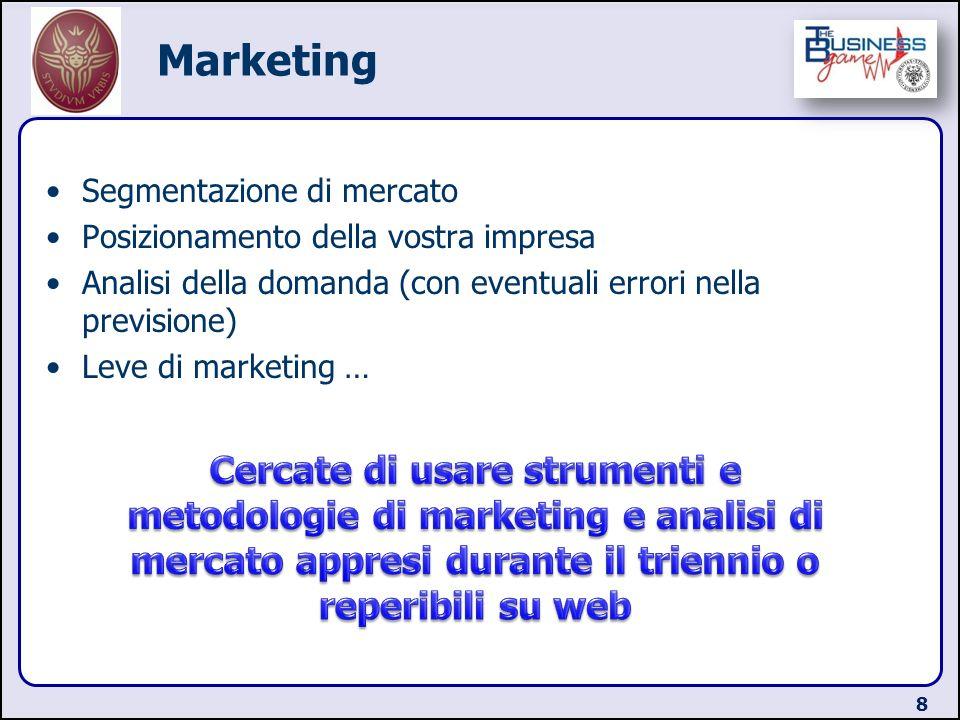 Marketing Segmentazione di mercato. Posizionamento della vostra impresa. Analisi della domanda (con eventuali errori nella previsione)