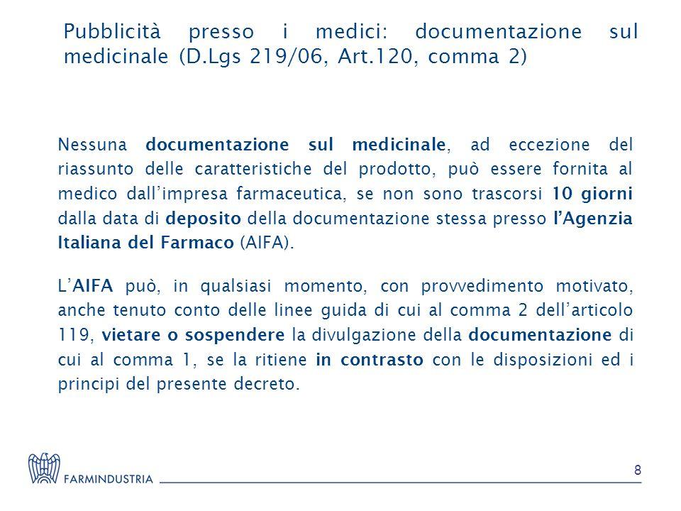 Pubblicità presso i medici: documentazione sul medicinale (D