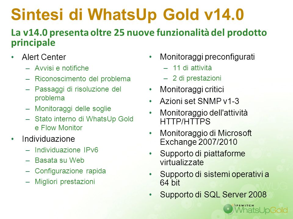 Sintesi di WhatsUp Gold v14.0
